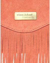 River Island | Natural Suede Fringe Clutch Bag | Lyst