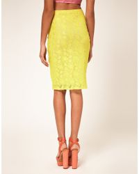 River Island | Yellow Lace Pencil Skirt | Lyst