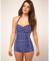Seafolly - Blue Polka Dot Boy Leg Swim Suit - Lyst