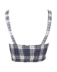 TOPSHOP | Blue Tall Tie-up Strappy Bardot Top | Lyst