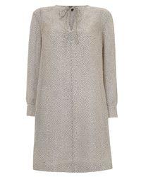 A.P.C. | White Navy Spot Long Sleeve Silk Dress | Lyst