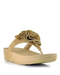 Fitflop | Natural Frou - Beige Suede Flower Thong Sandal | Lyst