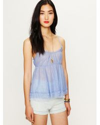 Free People | Blue All Over Lace Babydoll Top | Lyst