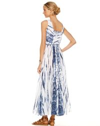 Michael Kors | Blue Fringe Weave Maxi Dress | Lyst