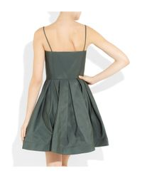 RED Valentino - Green Satintwill Mini Dress - Lyst