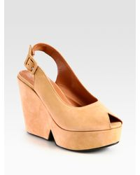 Robert Clergerie | Natural Dylan Suede Slingback Wedge Sandals | Lyst