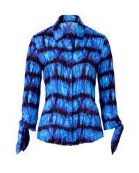Roberto Cavalli | Blue Peacock Wrinkled Tie Dye Silk Top | Lyst