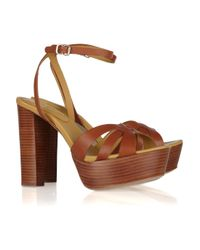 See By Chloé | Brown Wooden-heeled Leather Sandals | Lyst