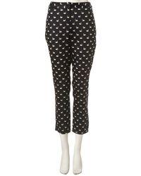 TOPSHOP - Black Swan Print Cropped Trousers - Lyst