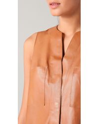 Vince | Natural Sleeveless Leather Shirtdress | Lyst