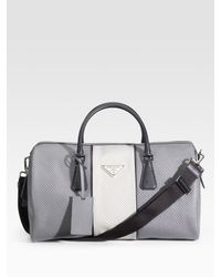 Prada | Gray Saffiano Leather Duffle for Men | Lyst