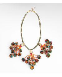 Tory Burch Multicolor Pom Pom Necklace