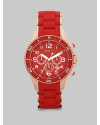 Marc By Marc Jacobs | Rose-gold Ip Finished Stainless Steel Red Chronograph Bracelet Watch | Lyst