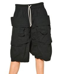 Rick Owens | Black Cargo Stretch Cotton Poplin Shorts | Lyst