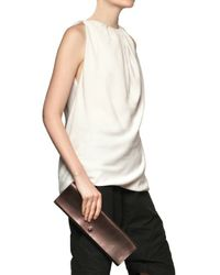 Rick Owens | Brown Metallic Leather Clutch | Lyst