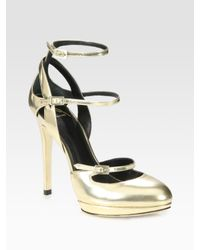 B Brian Atwood Fineday Metallic Leather Platform Mary Jane Pumps