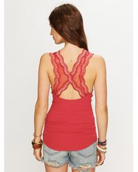 Free People | Red Rib and Lace Cami | Lyst