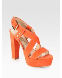 Pour La Victoire | Orange Nealla Suede Slingback Platform Sandals | Lyst