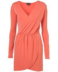TOPSHOP | Pink Moss Crepe Drape Dress | Lyst