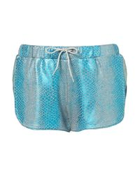 TOPSHOP - Green Foil Runner Shorts - Lyst