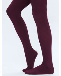 Free People | Purple Fleece Tights | Lyst