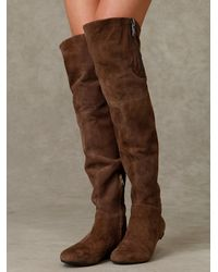 Free People | Gray James Suede Over The Knee Boot with Zipper | Lyst