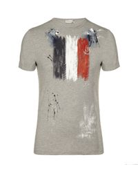 Moncler | Gray Painted Flag T-shirt for Men | Lyst