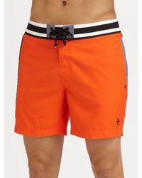 Original Penguin - Orange Volley Swim Trunks/solid for Men - Lyst