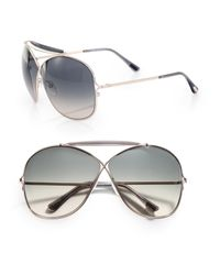 Tom Ford | Gray Metal Cross-over Aviator Sunglasses | Lyst