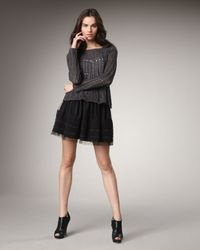 Theory | Black Virsha Tulle Silk-trimmed Mini Skirt | Lyst