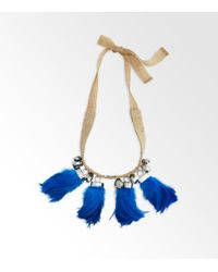 Tory Burch Blue Feather Tassel Necklace