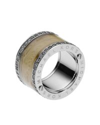 Michael Kors | Metallic Horn Design Barrel Ring with Pave Detail | Lyst