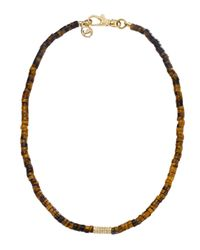 Michael Kors | Brown Tigers Eye Bead Necklace with Pave Detail | Lyst