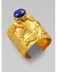 Saint Laurent | Blue Arty Wide Textured Bracelet | Lyst