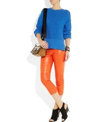 McQ - Orange Leather Skinny Biker Pants - Lyst