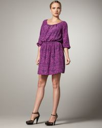Shoshanna | Purple Paisley-print Smocked-waist Dress | Lyst