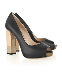 Bally Black Alicya Block-heel Leather Peep-toe Pumps