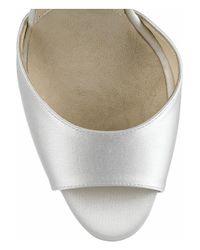 Brian Atwood - White Aurora Embellished Satin Sandals - Lyst