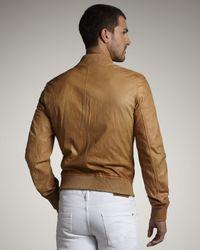 DSquared² - Natural Leather Bomber Jacket for Men - Lyst