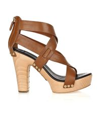 Givenchy | Brown Crossover Leather Sandals | Lyst