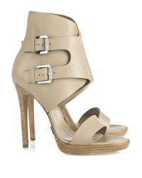 Michael Kors Natural Buckled Leather Sandals