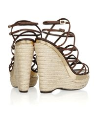 Roberto Cavalli - Brown Leather Espadrille Wedge Sandals - Lyst