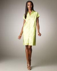Shamask - Green Taffeta Shirtdress - Lyst