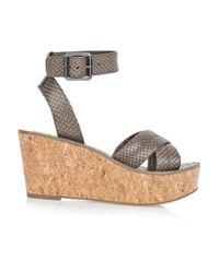 Tory Burch Gray Ellen Wedge Sandals