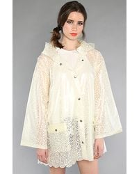 Free People - Natural The Lacey Raincoat in Ivory - Lyst