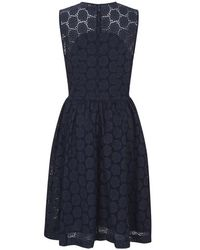 French Connection - Blue Orient Eyelets Dress - Lyst