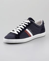 Moncler | Blue Navy Nylon and Suede Monaco Sneakers for Men | Lyst