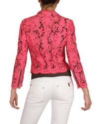 MSGM - Red Cotton Lace Biker Jacket - Lyst