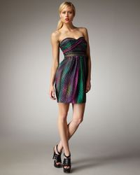 Shoshanna Multicolor Dot-print Silk Dress