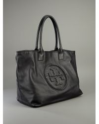 Tory Burch Black Embossed Leather Tote